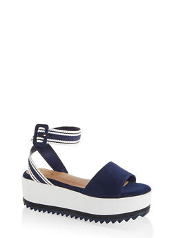 Striped Ankle Strap Platform Sandals - 1117004068643