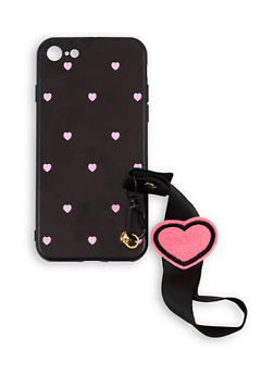 Heart Print Wrist Strap iPhone Case - 1120057690728