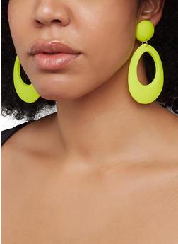 Matte Neon Oval Drop Earrings - 1122003201305
