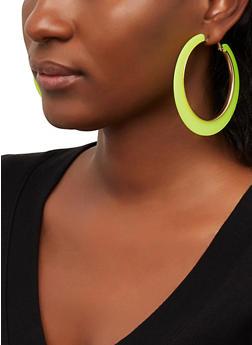 Metallic Trim Hoop Earrings - 1122003203004