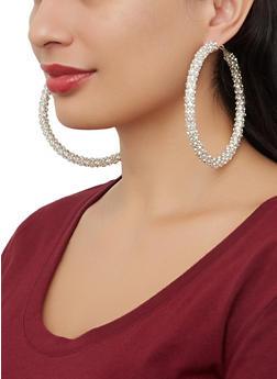 Rhinestone Wrapped Hoop Earrings - 1122029363084