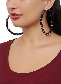 Large Rhinestone Wrapped Hoop Earrings - 1122029364084