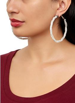 Twist Rhinestone Hoop Earrings - 1122029367056