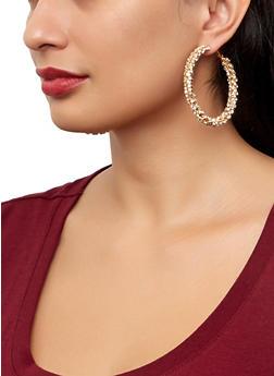 Rhinestone Twisted Hoop Earrings - 1122029368598