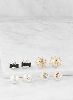 Faux Pearl Reversible Earrings - 1122035152552