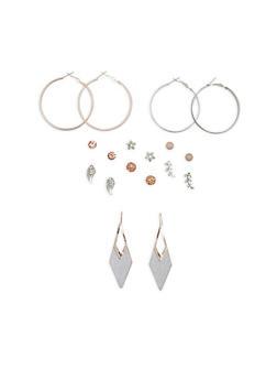 Set of 9 Glitter and Rhinestone Earrings - 1122035157967