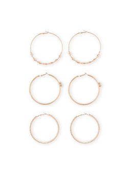 Set of 3 Textured Hoop Earrings - 1122035159177