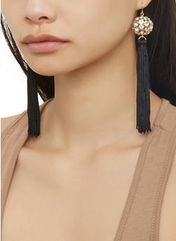 Rhinestone Ball Tassel Earrings - 1122057694414