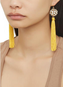 Rhinestone Ball Tassel Earrings - 1122057694414
