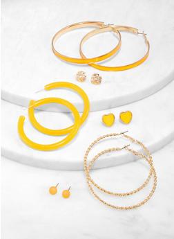 6 Assorted Metallic Hoop and Stud Earrings Set - 1122057695295