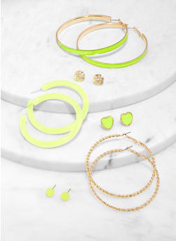 6 Assorted Metallic Hoop and Stud Earrings Set - 1122057695295