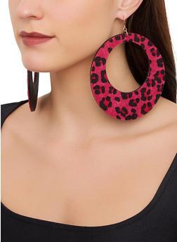 Oversized Round Leopard Drop Earrings - 1122057695298