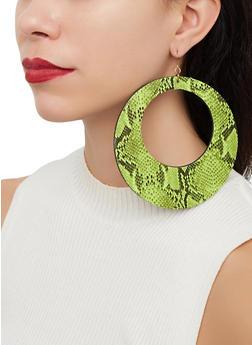 Oversized Snake Print Drop Earrings - 1122057695299
