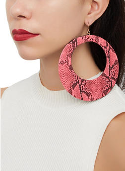 Oversized Snake Print Drop Earrings - 1122057695299