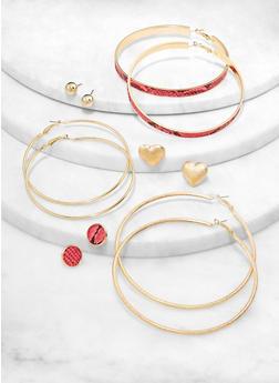Snake Print Stud and Hoop Earrings Set - 1122057695308