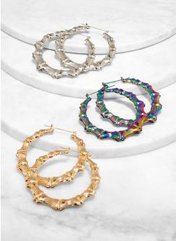 Multi Color Metallic Bamboo Hoop Earring Trio - 1122057695325
