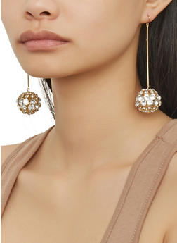 Rhinestone Ball Stick Earrings - 1122057695916