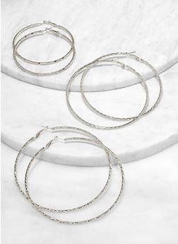 Variegated Metallic Hoop Earring Trio - 1122057699054