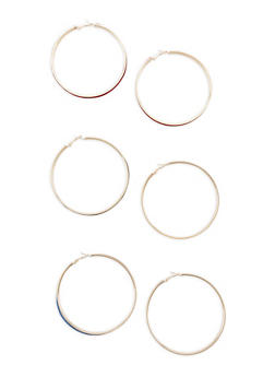 Set of 3 Velvet Hoop Earrings - 1122057699285