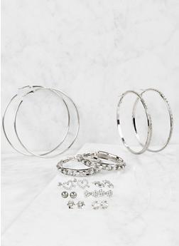 Rhinestone Stud and Hoop Earrings Set - 1122059631099