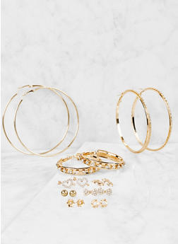 Rhinestone Stud and Hoop Earrings Set - 1122059631099