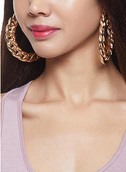 Metallic Chain Hoop Earring Trio - 1122059631297