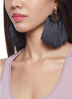 Large Tassel Disc Earrings - 1122059631502