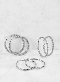 Textured Metallic Hoop Earring Trio - 1122059631874