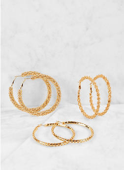 Textured Metallic Hoop Earring Trio - 1122059631874