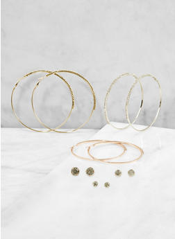 Rhinestone Stud and Hoop Earrings Set - 1122059639403