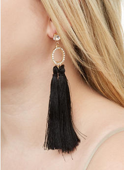 Rhinestone O Ring Tassel Earrings - 1122059639569