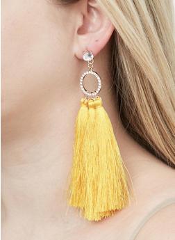 Rhinestone O Ring Tassel Earrings - 1122059639569