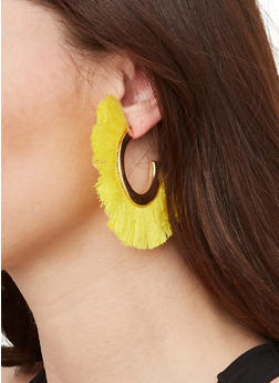 Half Hoop Fringe Earrings - 1122059639858