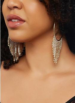 Rhinestone Fringe Hoop Earrings - 1122059639874
