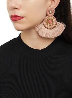 Beaded Double Circle Fringe Drop Earrings - 1122062810810