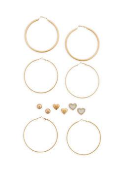 3 Textured Large Hoop Earrings and 3 Glitter Rhinestone Studs - 1122062812815