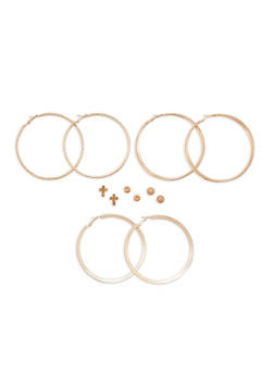 Large Hoop Earrings and Stud Earrings Set - 1122062812816