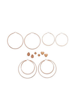 Set of 6 Rhinestone Stud and Large Textuered Hoop Earrings - 1122062812849