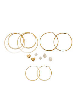 Set of 6 Rhinestone Stud and Large Textuered Hoop Earrings - 1122062812849