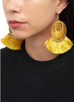 Fringe Fan Circle Drop Earrings - 1122062814059