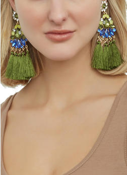 Jeweled Tassel Drop Earrings - 1122062920630