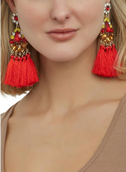 Jeweled Tassel Drop Earrings - 1122062920630