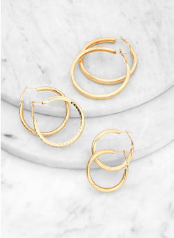 Textured Tubular Hoop Earrings Set - 1122062921535