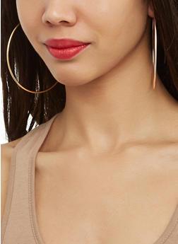 Set of 6 Metallic Assorted Hoop and Stud Earrings - 1122062921875