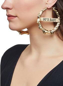 90s Baby Metallic Bamboo Earrings - 1122062922238