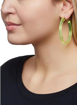 Plastic Colored Hoop Earrings - 1122062922430