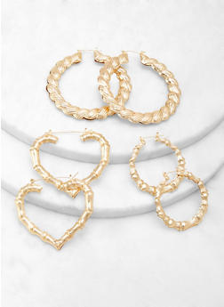 Trio of Bamboo Hoop Earrings - 1122062922475