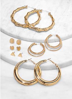 Multi Size Hoop and Stud Earrings - 1122062922532