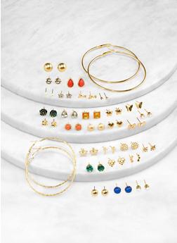 Jewel Studs and Hoop Earrings Set - 1122062922639