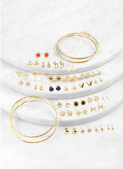 Assorted Metallic Studs and Hoop Earrings Set - 1122062922640
